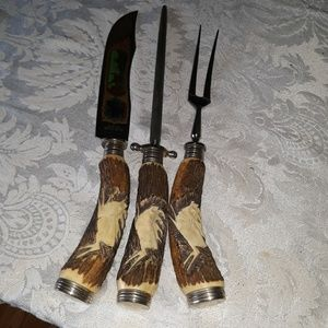 Anton Wingen Jr.Carved Stag Horn handle Set